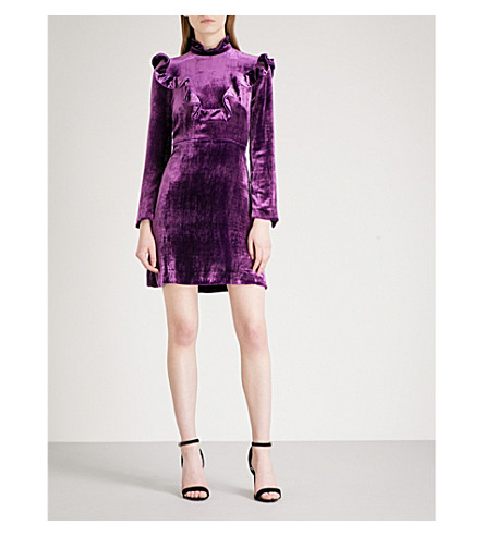 SANDRO High-neck velvet dress (Purple