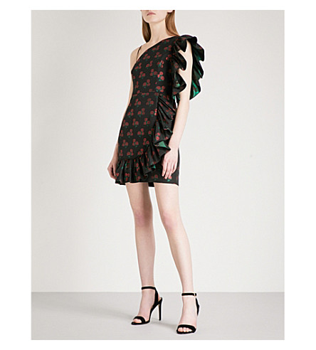 SANDRO Rose-pattern jacquard dress (Black