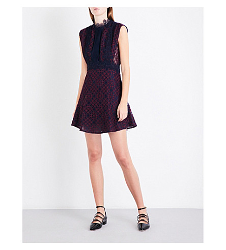 SANDRO Embroidered-trim lace dress (Burgundy