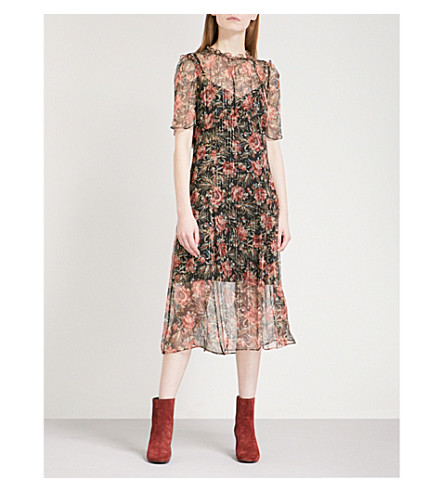 SANDRO Pleated floral-print chiffon midi dress (Light+brown