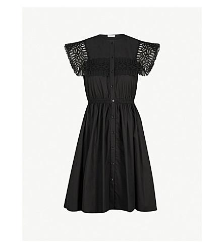 SANDRO Embroidered yoke cotton dress (Noir