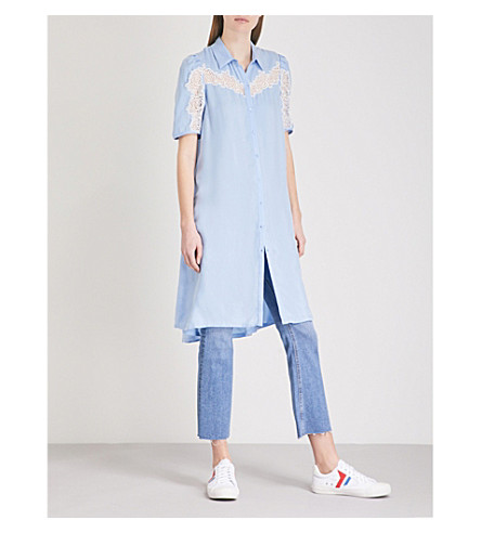 SANDRO Lace-detail crepe shirt dress (Bleu+ciel
