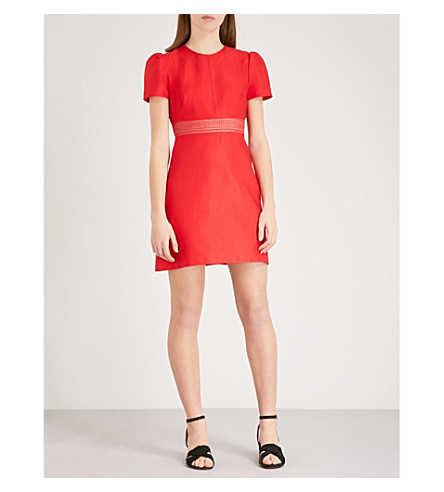 SANDRO Cap-sleeve fitted woven mini dress (Rouge