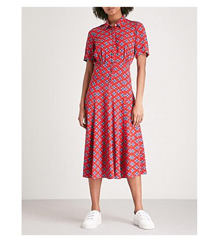 SANDRO Floral-pattern woven midi dress (Rouge