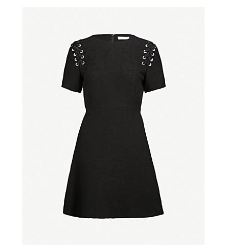 SANDRO Lace-up detail woven dress (Noir