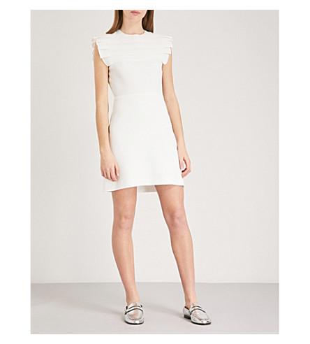 SANDRO Pleated yoke crepe mini dress (Ecru
