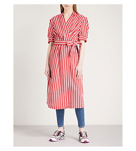 SANDRO Striped woven wrap dress (Rouge+cerise