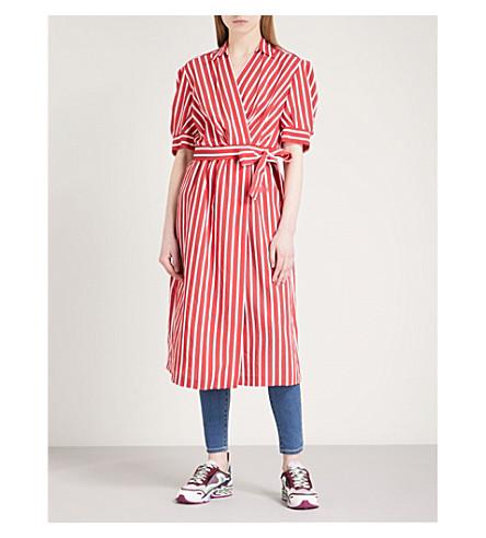 SANDRO Striped woven wrap dress (Rouge+cerise