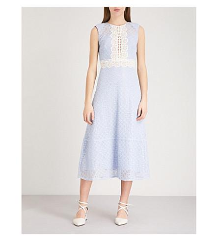 SANDRO Cutout sleeveless lace-embroidered midi dress (Bleu+ciel