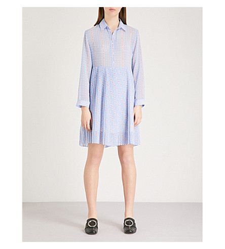 SANDRO Text and dot-print crepe dress (Bleu+ciel