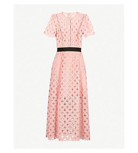 SANDRO Cutout lace-embroidered midi dress (Pivoine