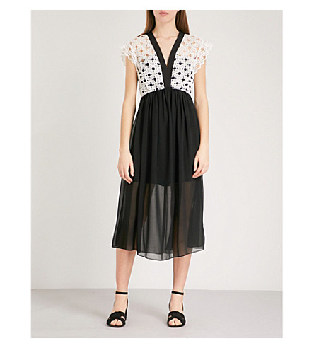 SANDRO Embroidered yoke crepe dress (Ecru