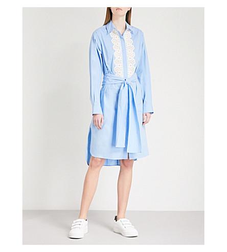 SANDRO Embroidered cotton dress (Bleu+ciel