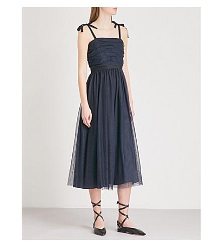 SANDRO Bow-detail mesh midi dress (Marine