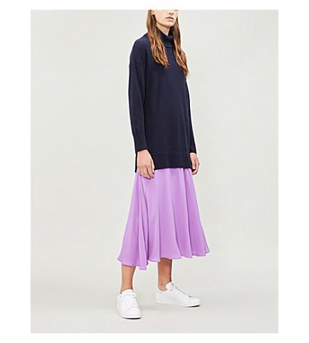 SANDRO 高领衫羊毛和羊绒混纺和绉纱连衣裙 (深 + 海军