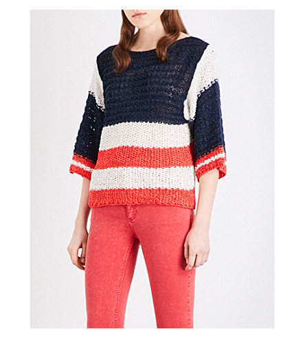 SANDRO Colourblock knitted sweater (Navy+blue