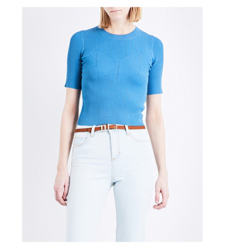 SANDRO Chevron-detail short-sleeved knitted jumper (Blue