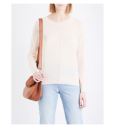 SANDRO Cutout fine-knit cotton-blend jumper (Pink