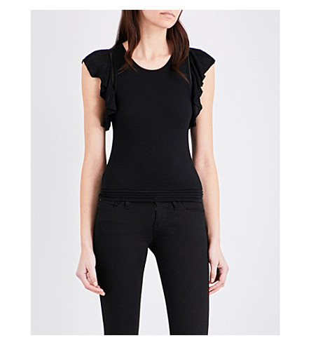 SANDRO Ruffled woven top (Black