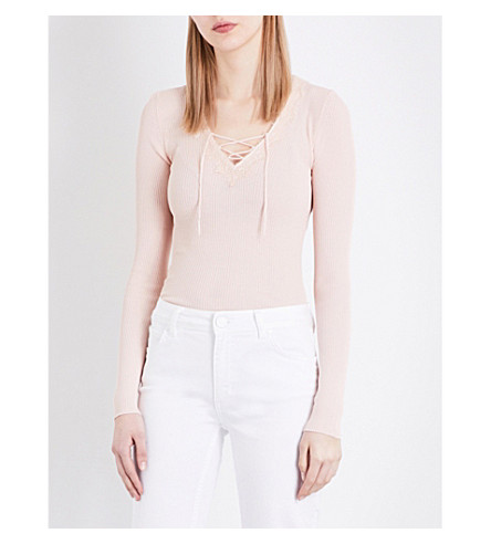 SANDRO V-neck lace-up knitted jumper (Light+pink