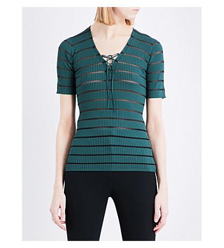 SANDRO Striped ribbed-knit jumper (Green
