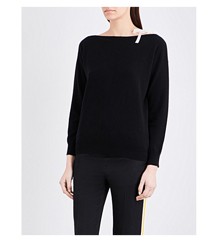 SANDRO Tie-detail wool and cashmere-blend jumper (Black