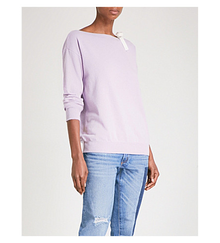 SANDRO Tie-shoulder wool and cashmere-blend jumper (Mauve