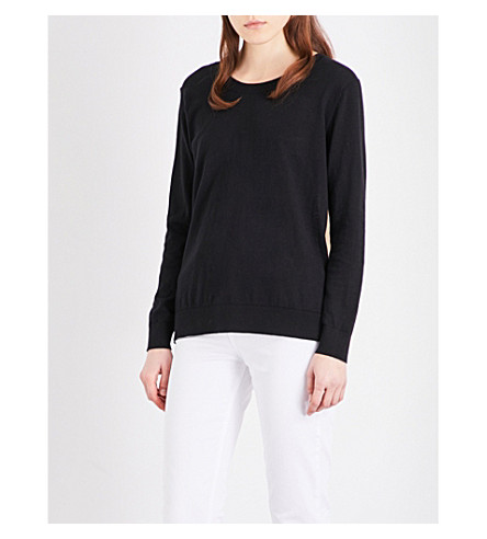 SANDRO Open-back cotton, silk and cashmere-blend jumper (Black