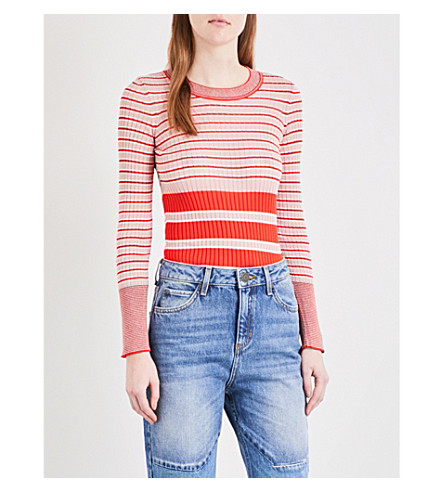 SANDRO Stripe-pattern ribbed knitted top (Pink