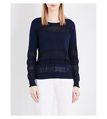 SANDRO Open-knit panel jumper (Navy+blue