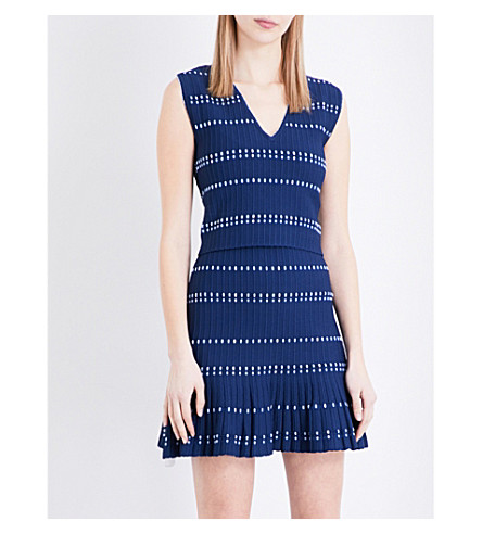SANDRO Sleeveless ribbed-knit top (Blue