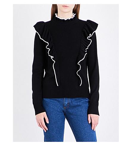 SANDRO Ruffled high-neck knitted jumper (Black