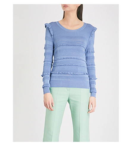 SANDRO Ruffled stretch-knit jumper (1