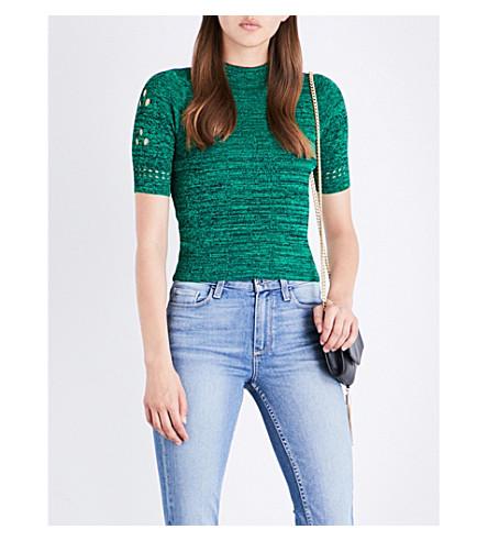 SANDRO Cutout knitted top (Moss+green