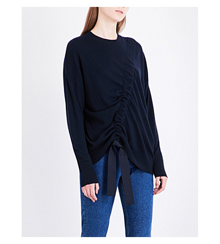 SANDRO Asymmetric-ruching wool and cashmere-blend jumper (Navy+blue