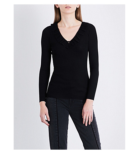 SANDRO Ruffled ribbed-knit jumper (Black