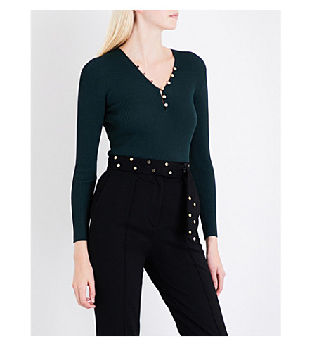 SANDRO Buttoned knitted top (Forest+green