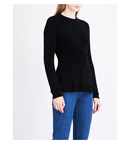 SANDRO Flared-hem chenille-knit jumper (Black