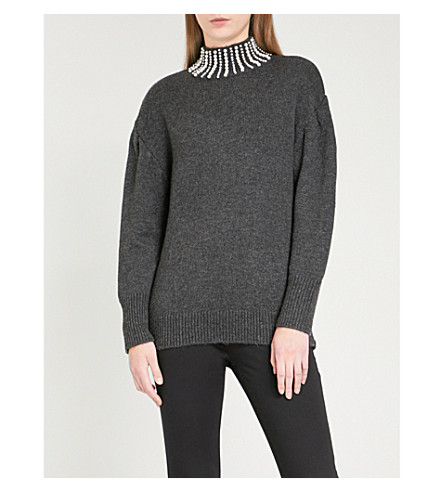 SANDRO Faux pearl-embellished knitted jumper (Grey