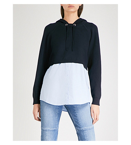 SANDRO Cropped waffle-knit hoody (Navy+blue
