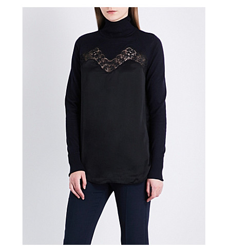 SANDRO Turtleneck wool and silk jumper (Black