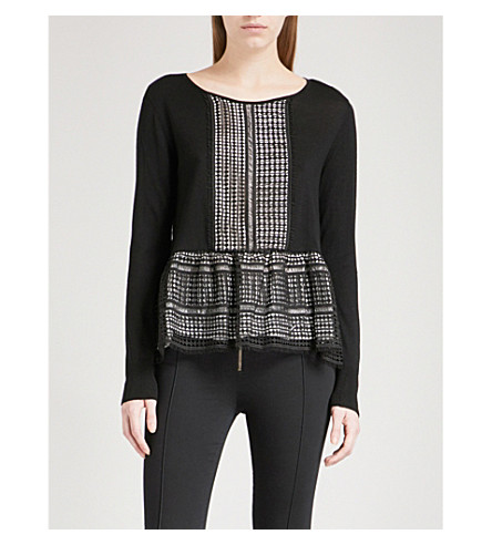 SANDRO Geometric-lace wool jumper (Black