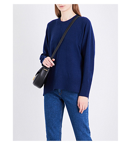 SANDRO Round-neck wool and cashmere-blend jumper (Blue