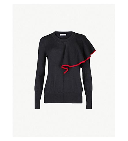 SANDRO Flared-detail knitted jumper (Navy+blue