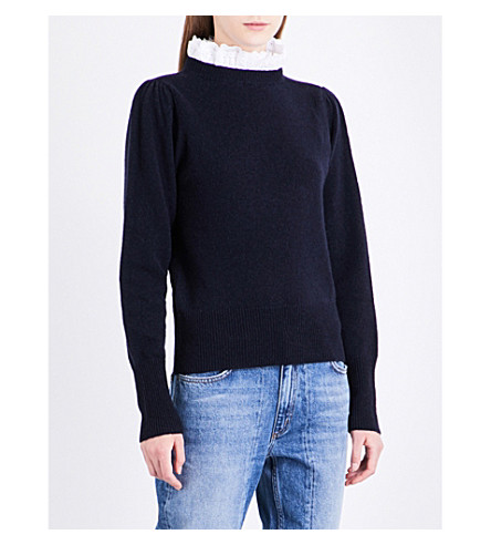 SANDRO Frilled-collar wool-blend jumper (Navy+blue