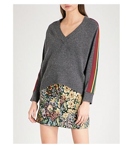 SANDRO Striped-trim wool jumper (Grey
