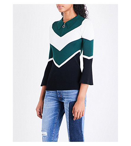 SANDRO Panelled knitted top (Forest+green