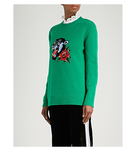 SANDRO Panther-embroidered wool jumper (Green