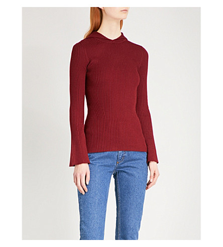 SANDRO Hooded flared-sleeve knitted top (Burgundy