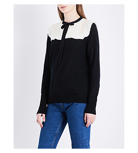 SANDRO Ruffled wool-blend jumper (Black